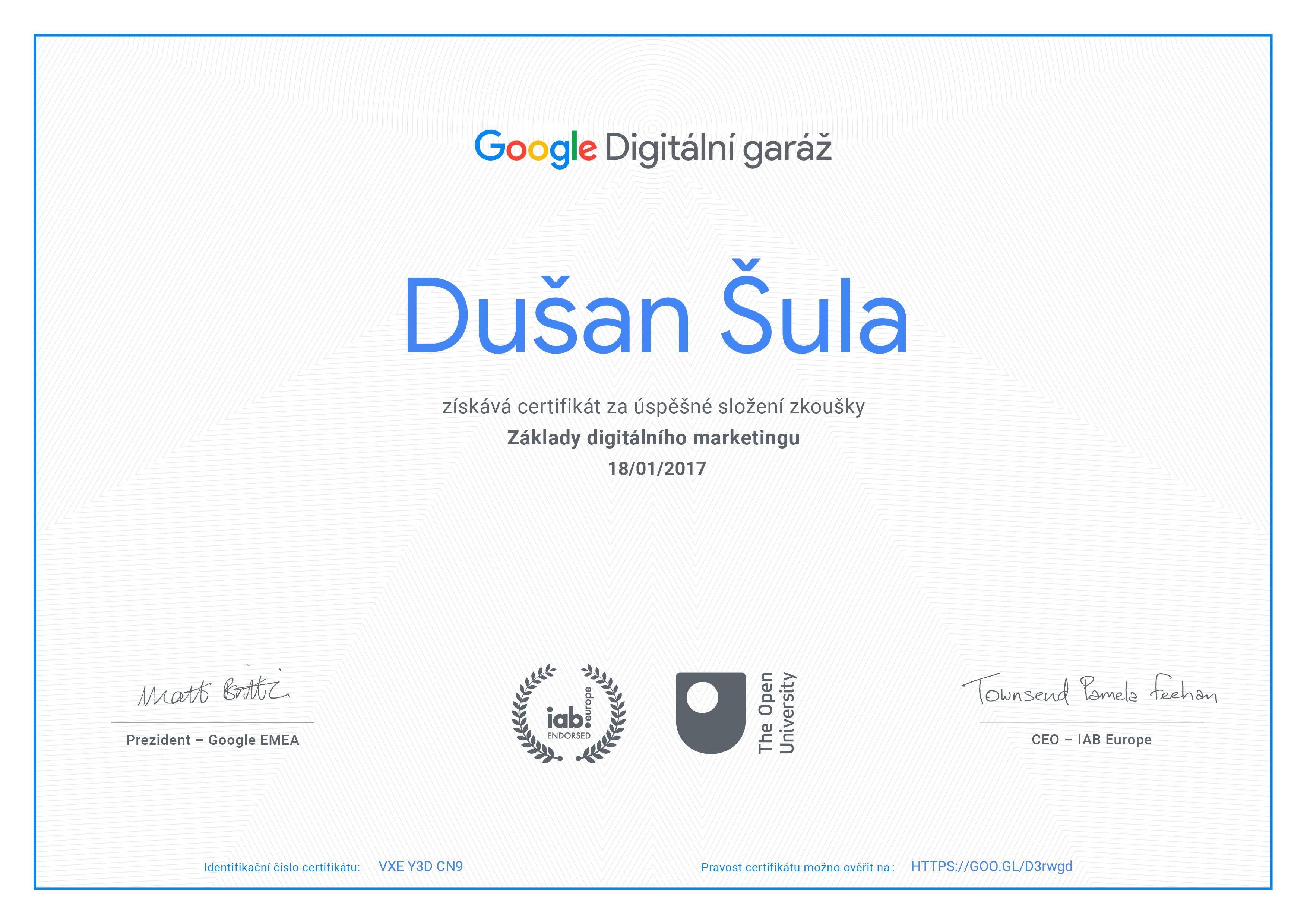 aBoo - Google certifikát